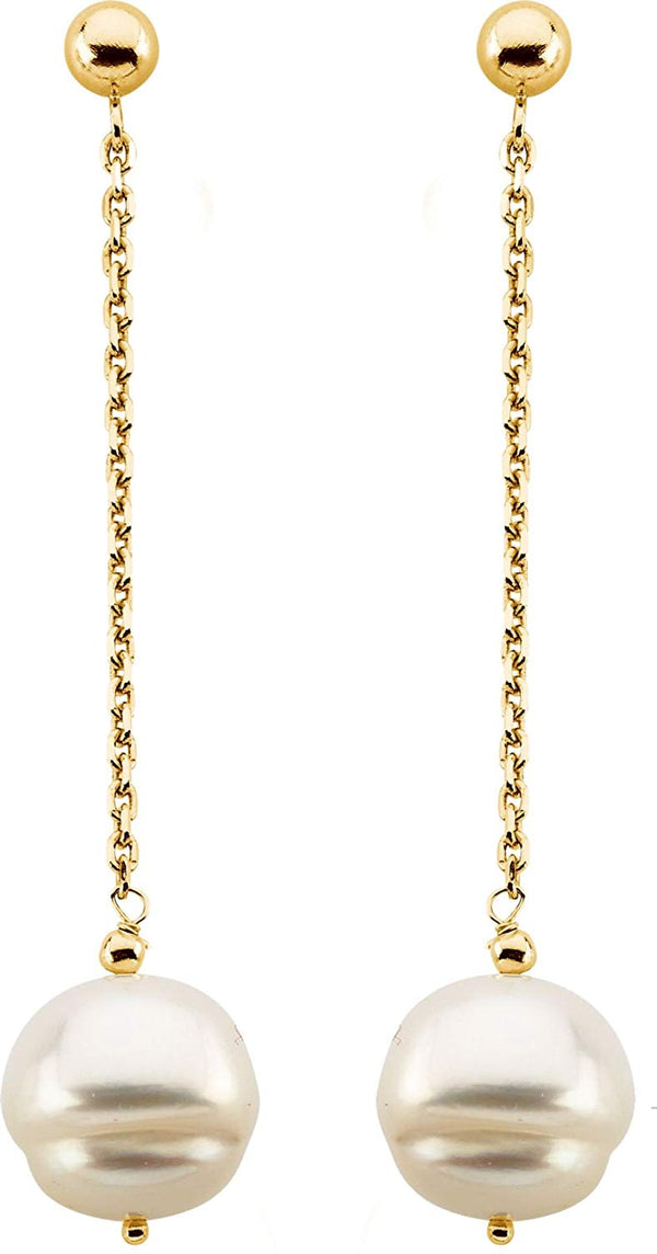 Freshwater Circle Pearl Chain Dangle Earrings, 09.00 - 11.00 MM, 14k Yellow Gold