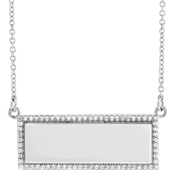 "Diamond Bar Engravable Necklace, Rhodium-Plated 14k White Gold, 18"" ( 0.16 Ctw, G-H Color, I1 Clarity)"