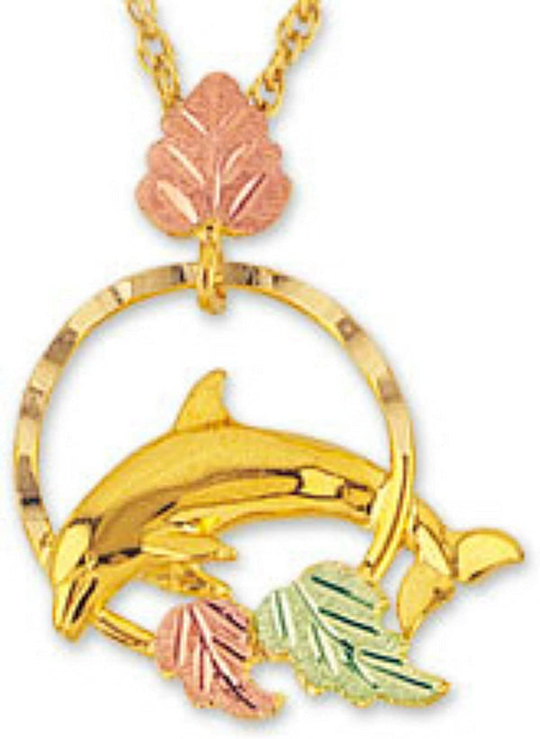Mirror Polished Dolphin Pendant Necklace, 10k Yellow Gold, 12k Green and Rose Gold Black Hills Gold Motif, 18""