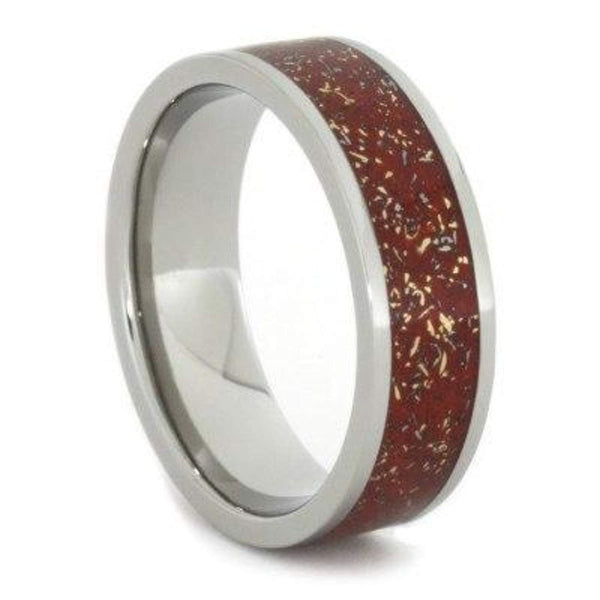 The Men's Jewelry Store (Unisex Jewelry) Red Stardust with Meteorite and 14k Yellow Gold 7mm Comfort-Fit Titanium Ring