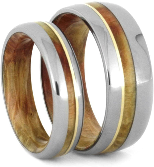 Titanium, 14k Yellow Gold Stripe, Comfort-Fit Flame Box Elder Burl Wood Band, Couples Wedding Rings