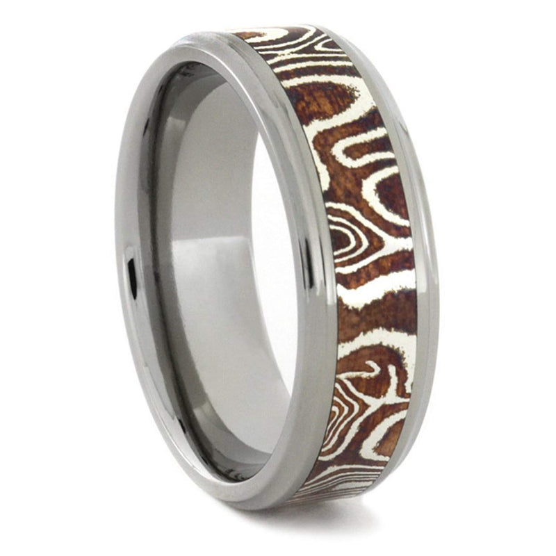 Copper and Silver Mokume Gane with Concave Edge 7mm Comfort-Fit Titanium Ring