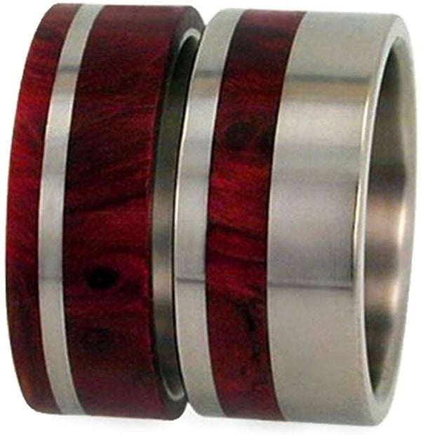 Redwood, Titanium Pinstripe Band, Men's Redwood Stripe Ring, Couples Wedding Band Set