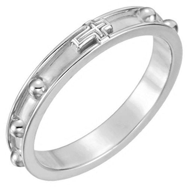 Rosary Ring, 3.25mm, Semi-Polished 10k White Gold, Size 10