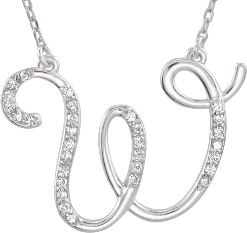 14k White Gold Diamond W Alphabet Initial Script Letter Necklace (GH Color, I1 Clarity, 1/6 Cttw)