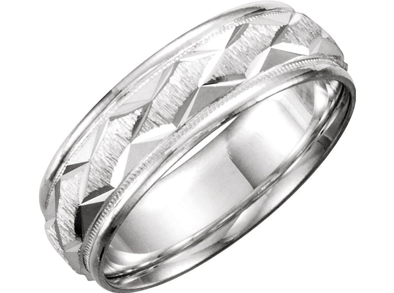 18k White Gold Ice Finished Diamond-Cut 7mm Comfort Fit Patterned Band