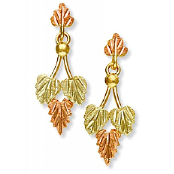 Victorian-Style Drop Earrings, 10k Yellow Gold, 12k Green and Rose Gold Black Hills Gold Motif