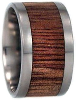 The Men's Jewelry Store (Unisex Jewelry) Koa Wood Inlay 12mm Comfort Fit Interchangeable Titanium Ring