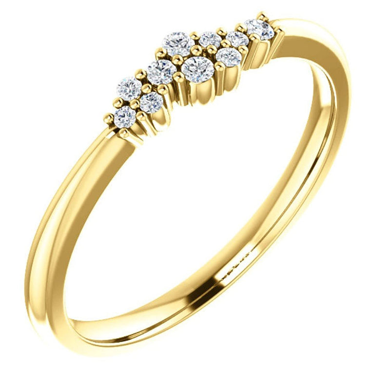 Diamond Stackable Cluster Ring, 14k Yellow Gold, Size 7 (.1 Ctw, G-H Color, I1 Clarity)