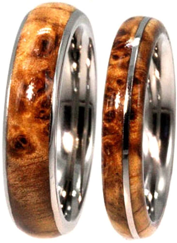 Black Ash Burl, Titanium Pinstripe Ring, His and Hers Wedding Band Set, M8-F4.5