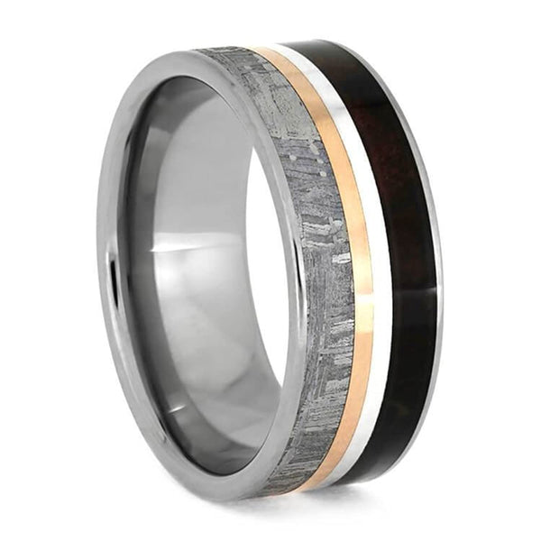 The Men's Jewelry Store (Unisex Jewelry) Gibeon Meteorite, Redwood, Twin Stripes 8mm Comfort-Fit Titanium Band