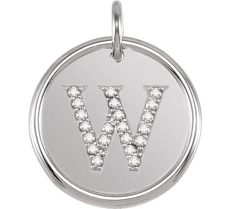 "Diamond Initial ""W"" Pendant, Rhodium-Plated 14k White Gold (0.1 Ctw, Color GH, Clarity I1)"