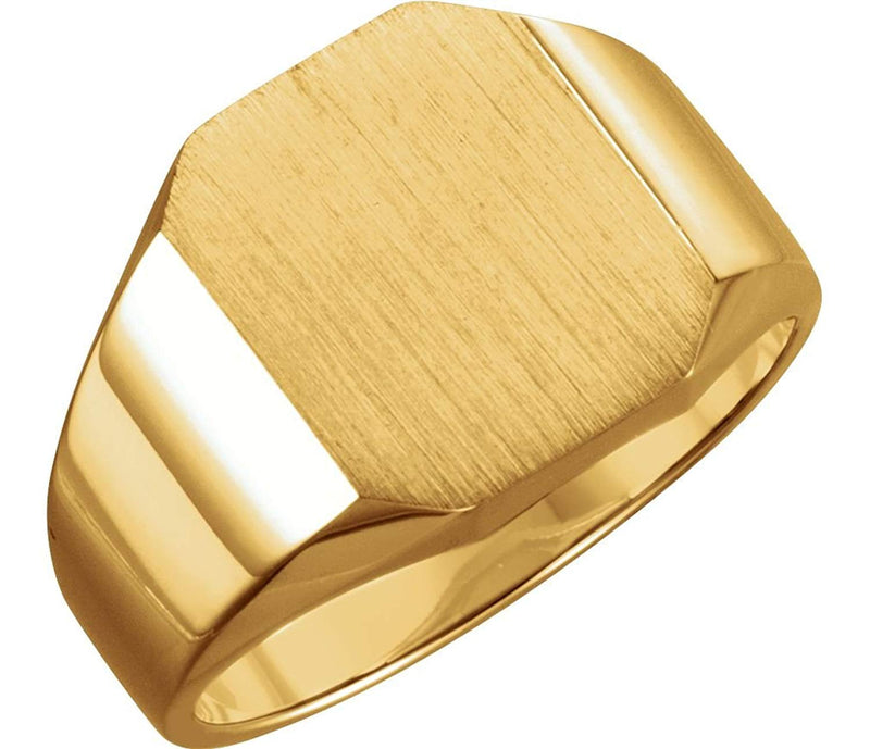Men's 10k Yellow Gold Satin Brushed Signet Ring, 14x12mm