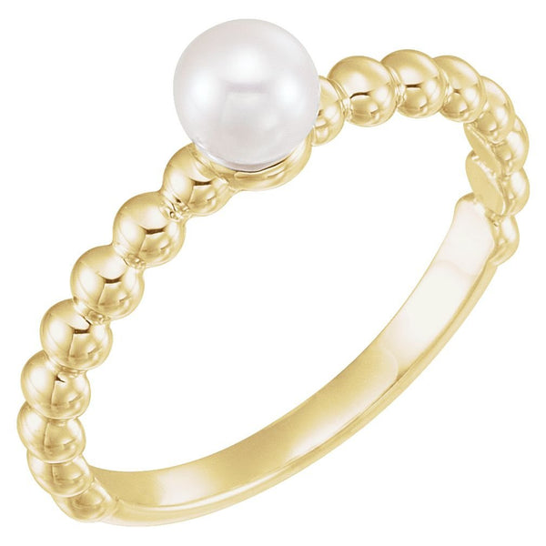 White Freshwater Cultured Pearl Stackable Beaded Ring, 14k Yellow Gold (5.5-6mm)