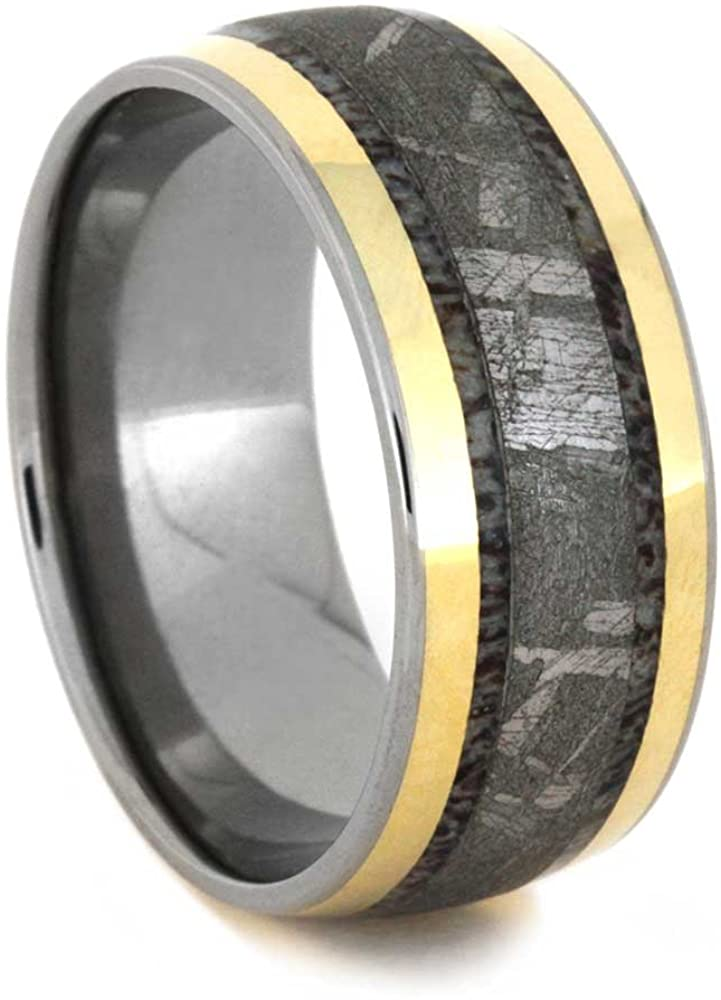The Men's Jewelry Store (Unisex Jewelry) Gibeon Meteorite, Deer Antler, 18k Yellow Gold 10mm Comfort-Fit Titanium Band, Size 12
