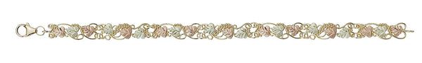 Victorian Style Bracelet, 10k Yellow Gold, 12k Green and Rose Gold Black Hills Gold Motif, 7""