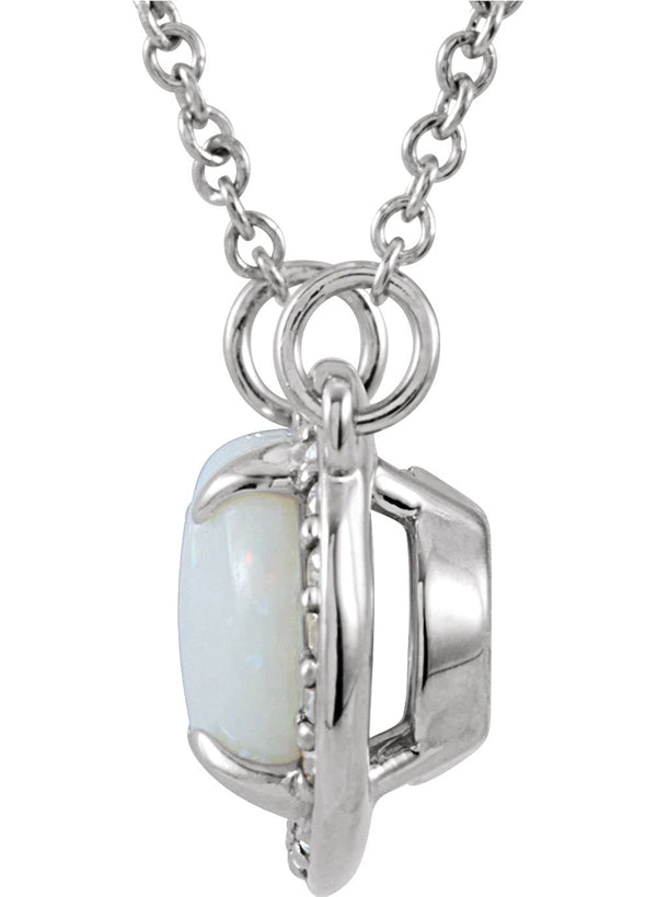 14K White Gold Cabochon Opal and Diamond Halo Necklace, 16.5""