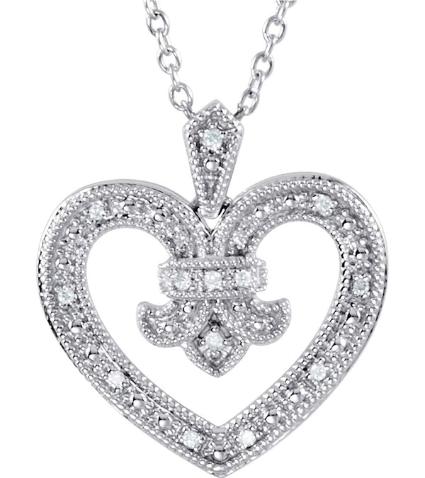 "15-Stone Diamond Heart Sterling Silver Pendant Necklace, 18"" (.068 Ctw)"