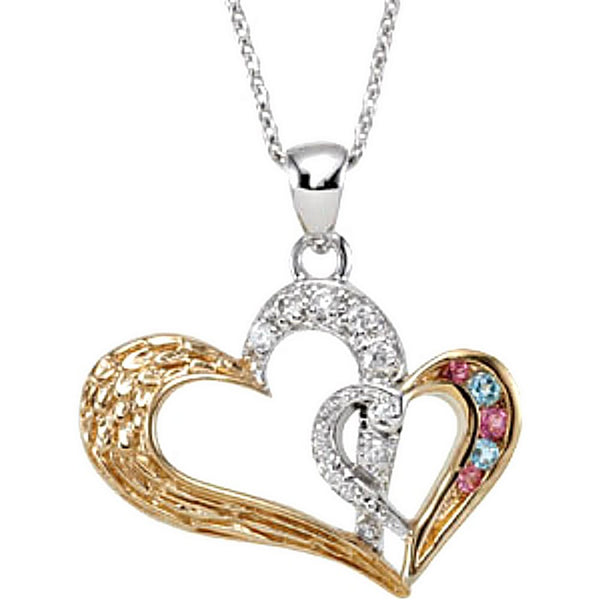 Two-Tone Hearts 'Protected by Love of God and Mom' Pendant Necklace, Rhodium Plate Sterling Silver, Yellow Gold Plated Silver, 18""