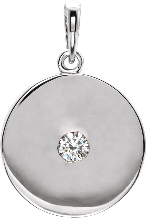 Round Diamond Disc Pendant, Rhodium-Plated 14k White Gold (0.10 Ct, Color G-H, I1 Clarity)