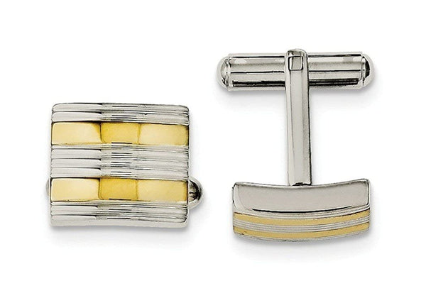 Yellow IP-Plated Stainless Steel and Polished Square Cuff Links, 15X13MM