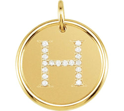 "Diamond Initial ""H"" Pendant, 14k Yellow Gold (0.1 Ctw, Color GH, Clarity I1)"