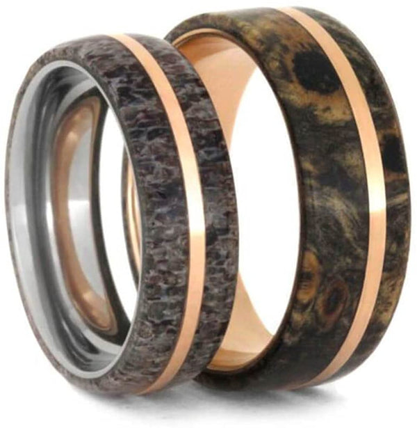 Deer Antler, 14k Rose Gold Titanium Band and Buckeye Burl Wood, 14k Rose Gold Titanium Band Couples Wedding Bands Sizes M12-F7.5