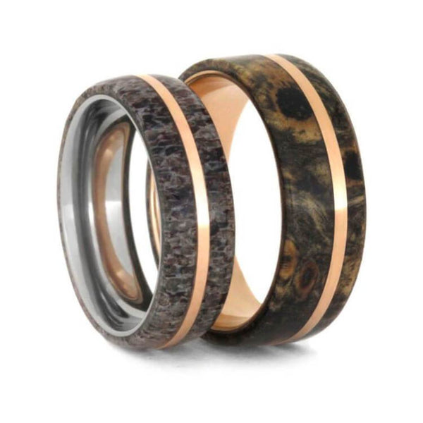 Deer Antler, Buckeye Burl, 14k Rose Gold Comfort-Fit Matte Titanium Couples Wedding Band Set
