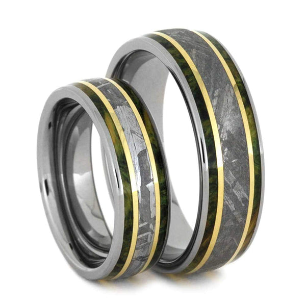 His and Hers Titanium Wedding Band Set, Gibeon Meteorite, Green Box Elder Burl Wood, 14k Yellow Gold Ring