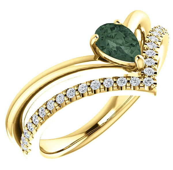 Chatham Created Alexandrite Pear and Diamond Chevron 14k Yellow Gold Ring (.145 Ctw, G-H Color, I1 Clarity)