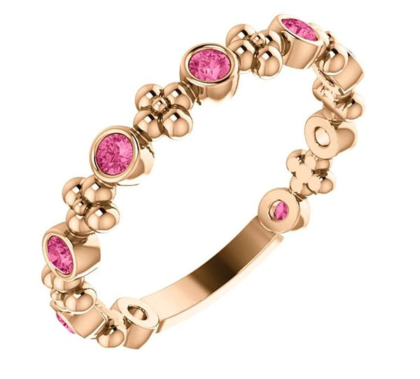 Genuine Pink Tourmaline Beaded Ring, 14k Rose Gold