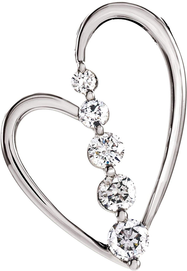 14k White Gold Journey Diamond Heart Pendant (GH Color, I1 Clarity, 1/2 Cttw)