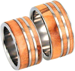 Rowan Wood, Titanium Pinstripes Interchangeable Ring, Couples Wedding Band Set, M13.5-F4