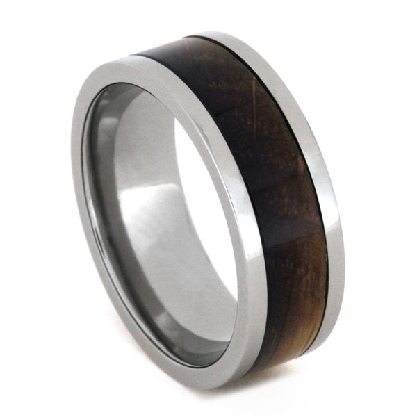 Whiskey Barrel Oak Wood Inlay 8mm Comfort-Fit Titanium Band