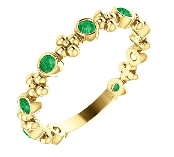 Genuine Emerald Beaded Ring, 14k Yellow Gold, Size 6.75