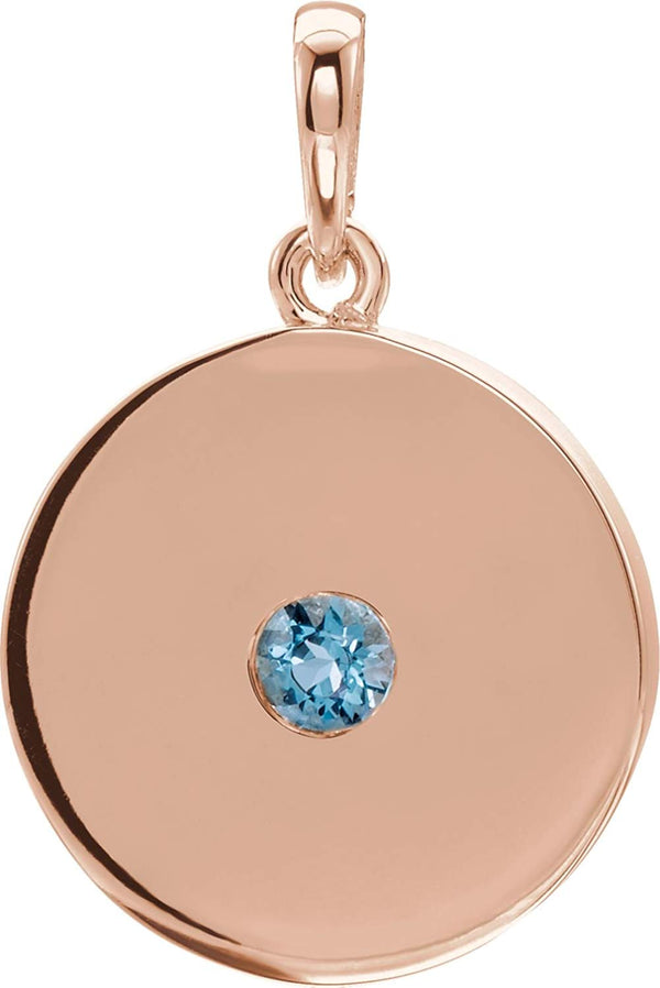 Round Aquamarine Disc Pendant, 14k Rose Gold