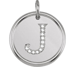 "Diamond Initial ""J"" Pendant, Sterling Silver (.05 Ctw, Color G-H, Clarity I1)"