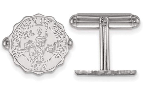 Rhodium-Plated Sterling Silver University Virginia, Crest Cuff Links 15MM