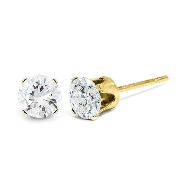 Charles & Colvard Moissanite Solitaire Solstice Earrings, 14k Yellow Gold (4MM)