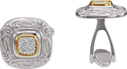 2-Tone Pave Diamond Scroll-Work Square Cuff Links, Sterling Silver, 14k Yellow Gold, (.25 Ctw, GH, I1)
