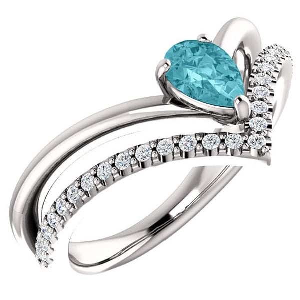 Blue Zircon Pear and Diamond Chevron Rhodium-Plated 14k White Gold Ring (.145 Ctw, G-H Color, I1 Clarity), Size 8