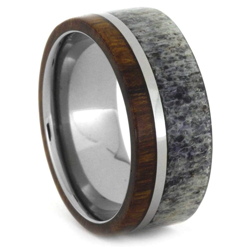 Ironwood and Deer Antler 8mm Comfort-Fit Titanium Band