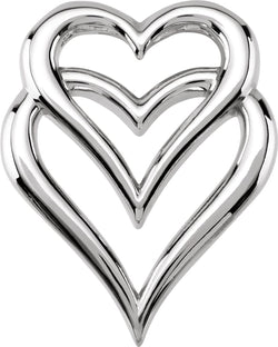 Double Heart Pendant Slide, Rhodium-Plated 14k White Gold