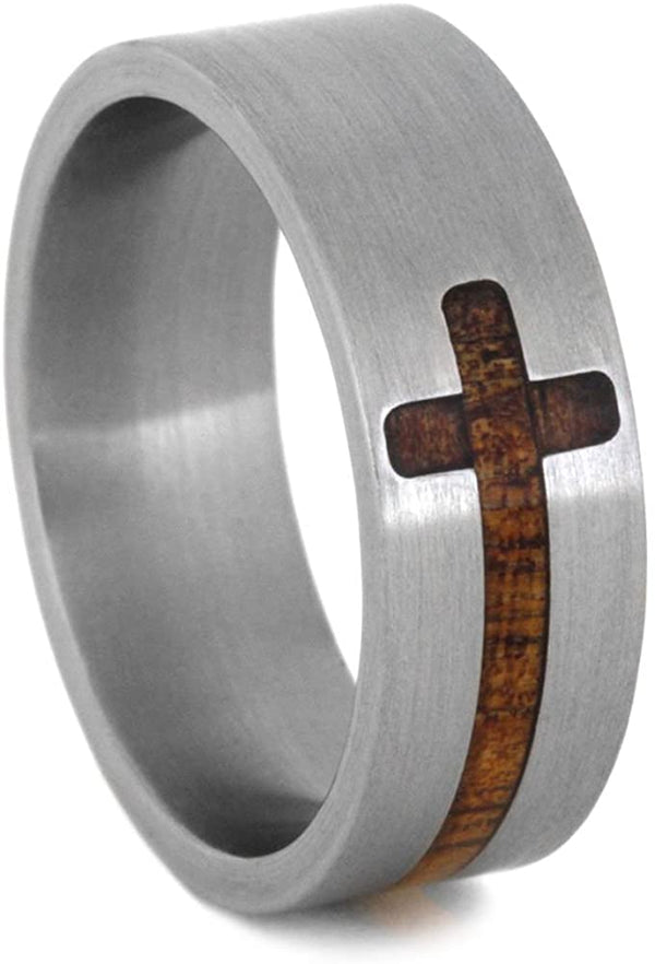 Koa Wood Cross 8mm Comfort-Fit Brushed Titanium Band, Size 14