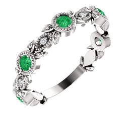 Chatham Created Emerald and Diamond Vintage-Style Ring, Rhodium-Plated 14k White Gold (.03 Ctw, G-H Color, I1 Clarity)
