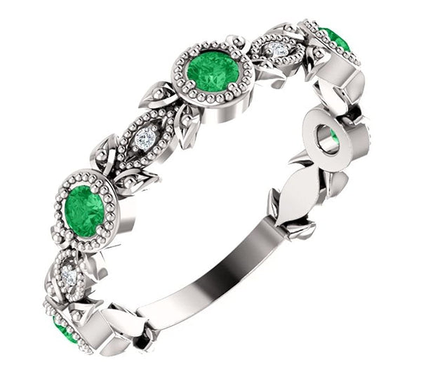 Emerald and Diamond and Vintage-Style Ring, Rhodium-Plated Sterling Silver, Size 7.25