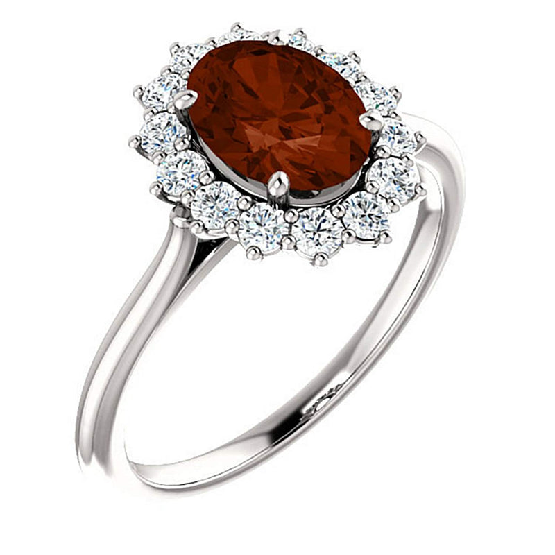 Mozambique Garnet and Diamond Halo 14k White OR Yellow Gold Ring, Size 7