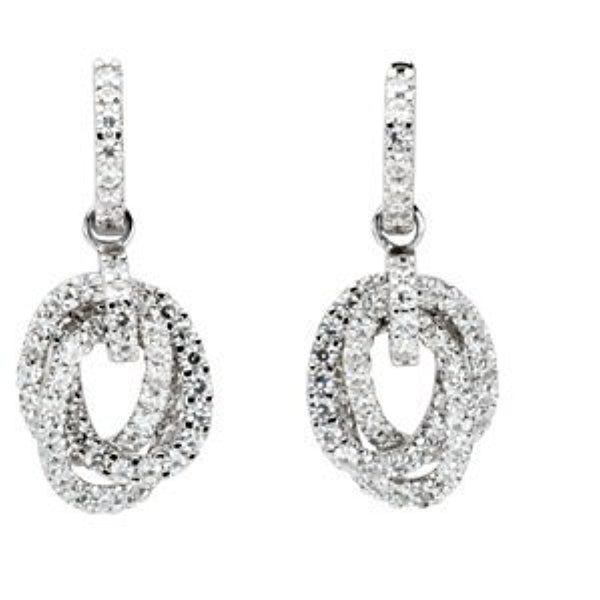 Charles and Clovard 14k White Gold Moissanite Earrings