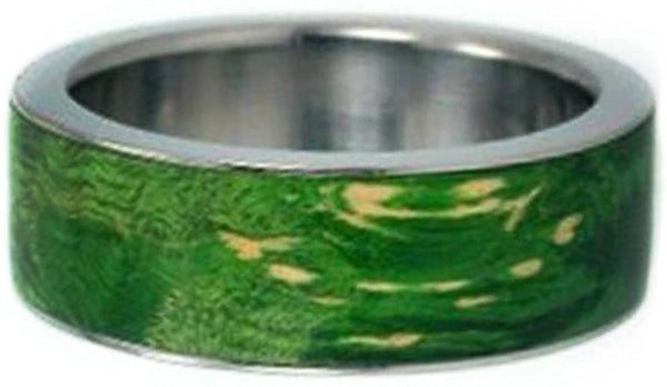 Interchangeable Wood Ring with Peridot Burl Wood Inlay 8 mm Comfort Fit Titanium Band, Size 5