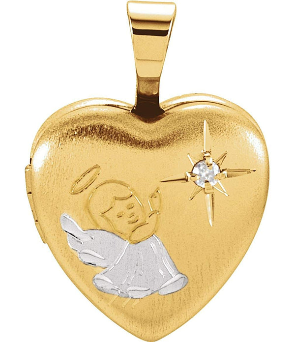 Childrens Diamond Guardian Angel Heart Locket Pendant, Yellow Gold Plate and Sterling Silver
